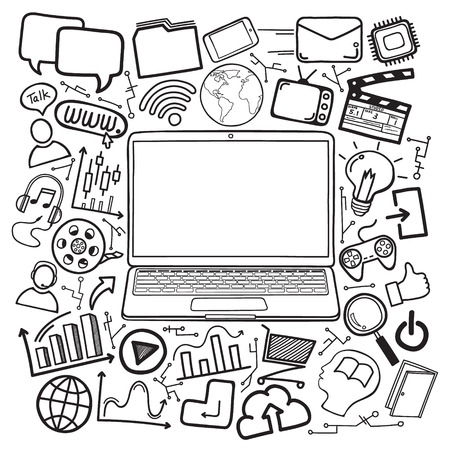 laptop with social media icon design doodle hand drawing. vector illustration.