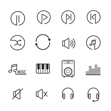 Audio controls and other line icon music. editable stroke. vector illustration. Ilustracja