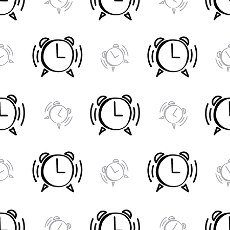 Doodle hand drawn clock seamless background.