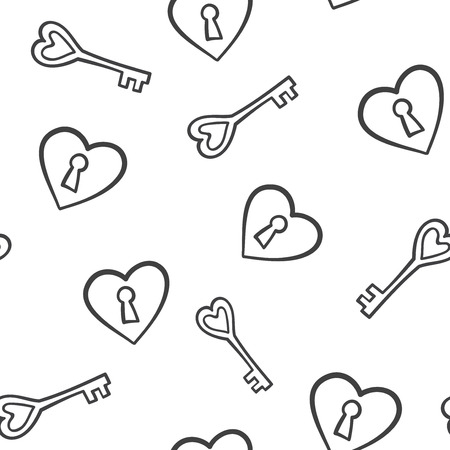 Seamless pattern with heart lock and key vector illustration.