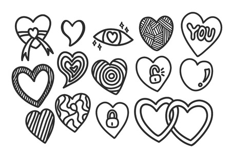 Doodle hand drawn hearts with different style