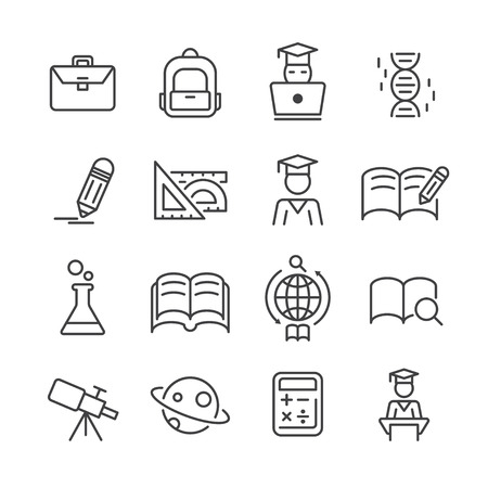 Line icon set about education.