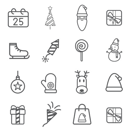 Christmas accessories set line icon vector illustration