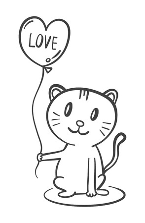 Cat with heart shaped balloon vector illustration.