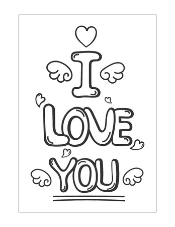 Doodle hand drawn text for Valentine's day celebration.