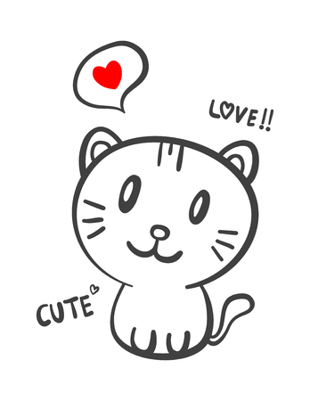 A cat with text love and cute vector illustration.