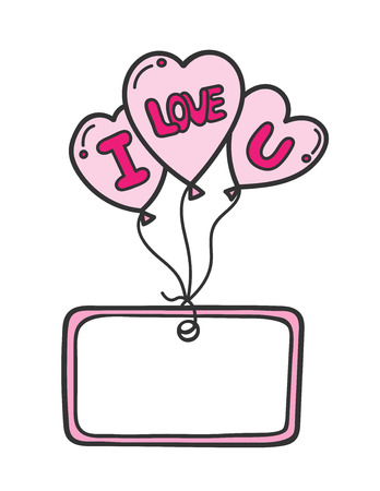 Three heart shaped balloons with letterings and frame with space for text. Ilustracja