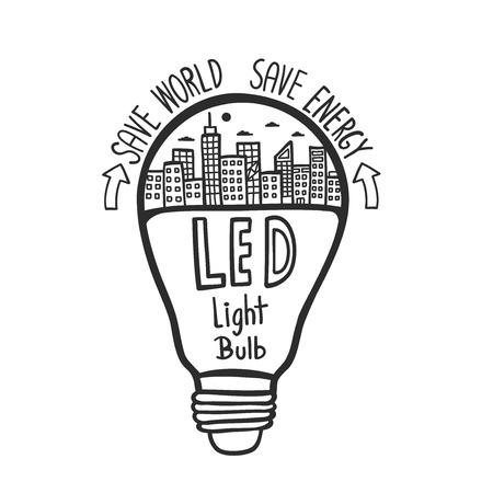 Doodle hand drawn LED light bulb.