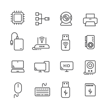 16 line icons of computer equipments and accessories. Ilustracja