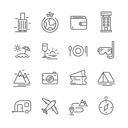 16 tourism line icons recreational concept. Ilustracja