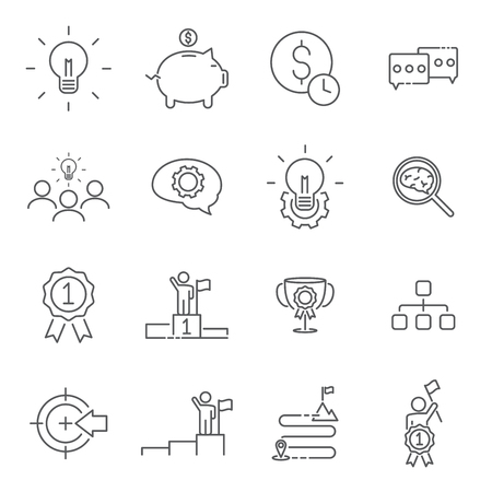 Set of success line icons vector illustration.