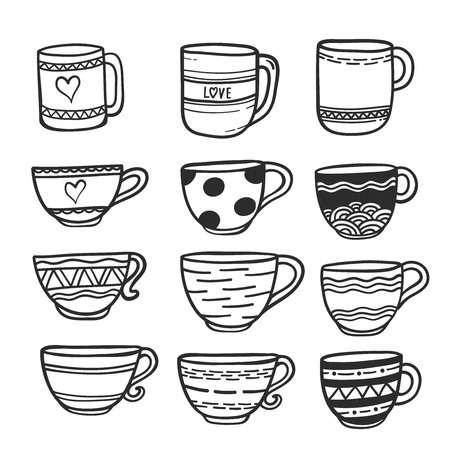 Doodle hand drawn cups and mugs with different patterns. Ilustracja