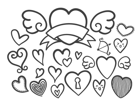 Collection of heart doodles hand drawn vector illustration. Ilustracja