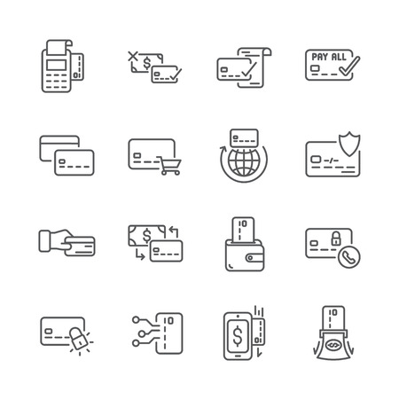Set of credit card line icons. Ilustracja