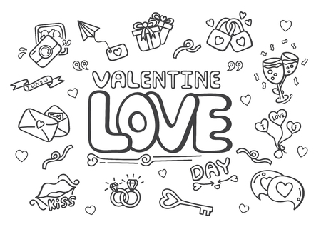 Doodle hand drawn Valentine's day concept vector illustration.