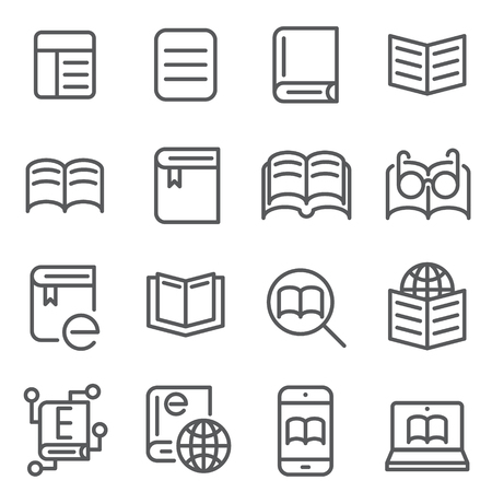 Electronic book concept line icons vector illustration Ilustracja