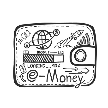 Hand drawn e-money system concept vector illustration.