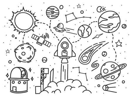 Doodle hand drawn space exploration vector illustration. Ilustracja