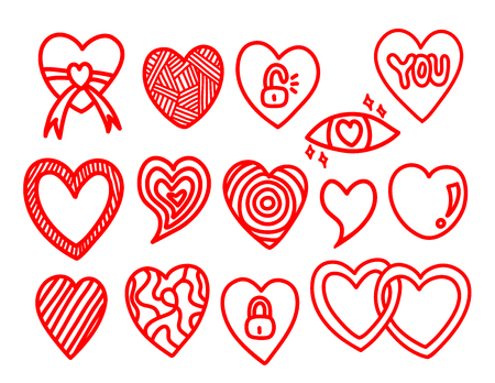 Set of heart doodle hand drawn vector illustration.