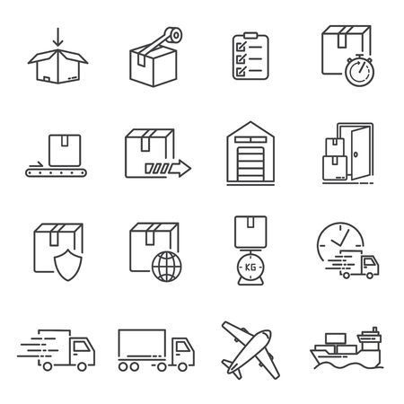 Set of transportation and delivery line icons. Ilustracja