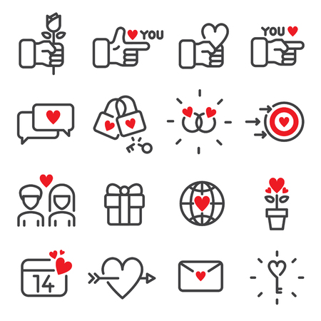 16 line icons about Valentine's day vector illustration. Ilustracja