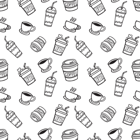Cup, mug, and glass for the beverage, hand-drawn doodle seamless background for decorations. Vector illustration. Ilustracja