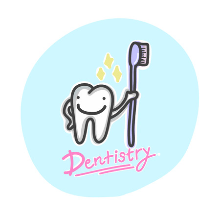 The cartoon character tooth is clean with toothbrush and smile is happy. Vector illustration.  Ilustracja