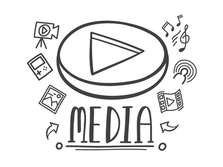 Hand-drawn doodle online media for entertainment. Vector illustration.