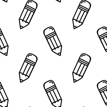 Hand-drawn doodle pencil is seamless pattern background. Vector illustration.