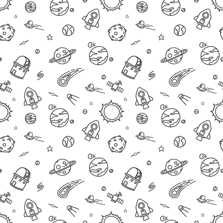 Hand-drawn doodle seamless pattern background is space exploration and cosmology. Vector illustration.