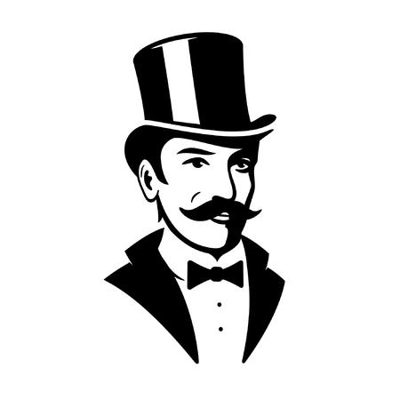 Icono de logotipo de sombrero de copa de caballero victoriano