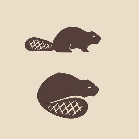 Ilustración de vector de icono de animal de castor Ilustración de vector