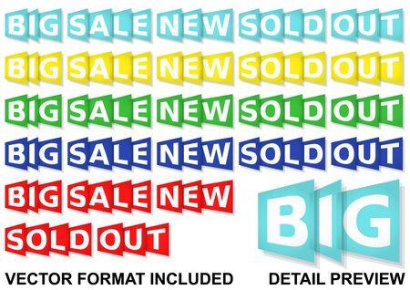 eshop messages, six colours set, vector format included