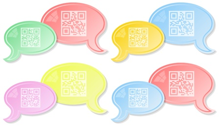 QR chat dialog - set of four variants