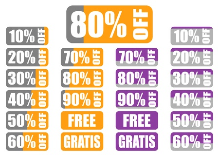percentage discount labels with color indicator, 2 color sets, variants 10 -90 , free,gratis Ilustração