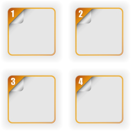 four options template with 3D page curl effect in orange color