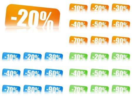 percentage discount tickets, 3 colour sets, variants 10 -90 , free, gratis Ilustração