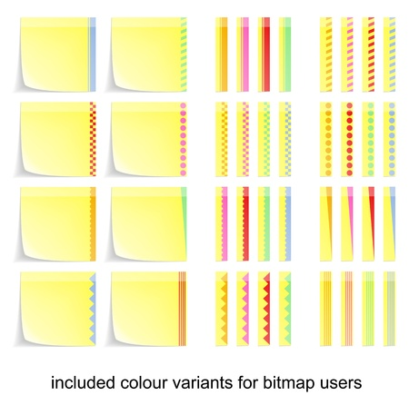 adhesive postit labels with colour variants for bitmap users Ilustração