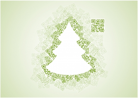 QR Christmas tree with wish in QR code - Merry Christmas Ilustração
