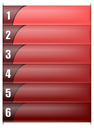 six options vertical template in red colour