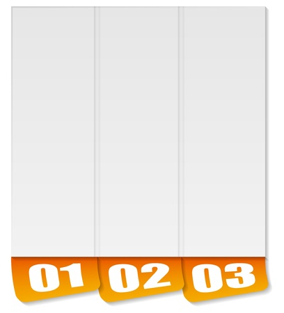 three options orange pseudo 3D vertical template Ilustração