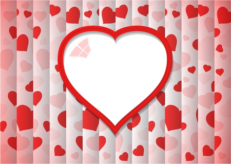 abstract background with one big red heart and lot of small hearts