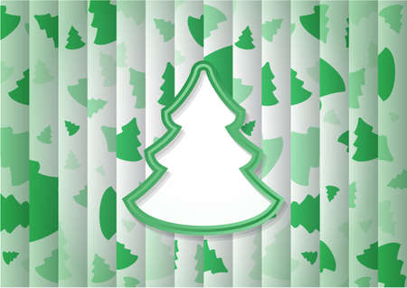 abstract background with one big green Christmas tree and lot of small trees
