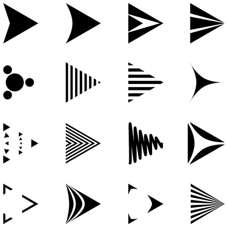 set of 16 simple arrows icons Vector