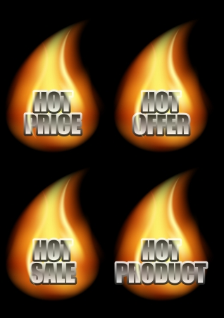 Set of Four Hot Eshop Messages in Decorative Font in Flame on Black Background  Included Messages Hot Price, Hot Offer, Hot Sale And Hot Product