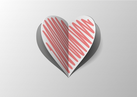 Folded Paper Heart With Red Hatch With Shadow on Gray Background