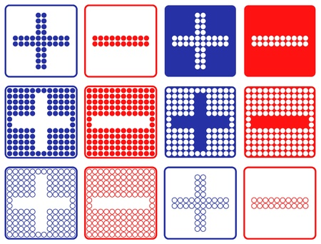 Blue Plus And Red Minus Symbols Patchwork of Color Dots  Set of Six Variants Ilustração