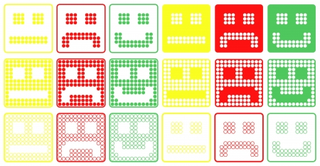 Basic Smilies Symbols Patchwork of Three Colors Dots  Set of Six Variants Ilustração