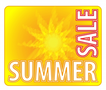 Summer Sale - Information Message For Customers With Abstract Sun In Yellow And Orange Color  Ilustração