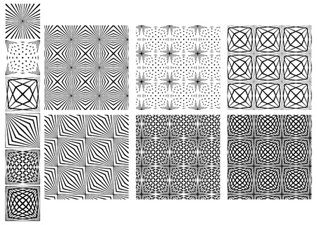 Collection of Six Seamless Black And White Crossing Lines Patterns Looks Like Spider.  Ilustração